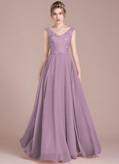 Vestidos princesa/ Formato A Decote V Longos Tecido de seda Renda Vestido de baile