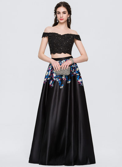 A-Line/Princess Off-the-Shoulder Floor-Length Satin Prom Dress With Beading Flower(s)