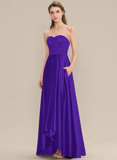 Трапеция возлюбленная асимметричный Атлас Платье Подружки Невесты