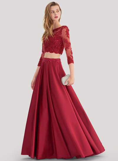 Ball-Gown Scoop Neck Floor-Length Satin Prom Dress With Beading Sequins