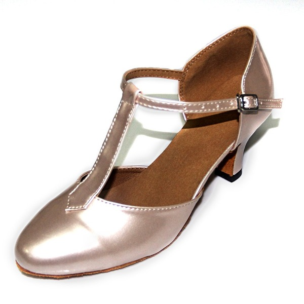 Women's Patent Leather Pumps Ballroom With T-Strap Dance Shoes