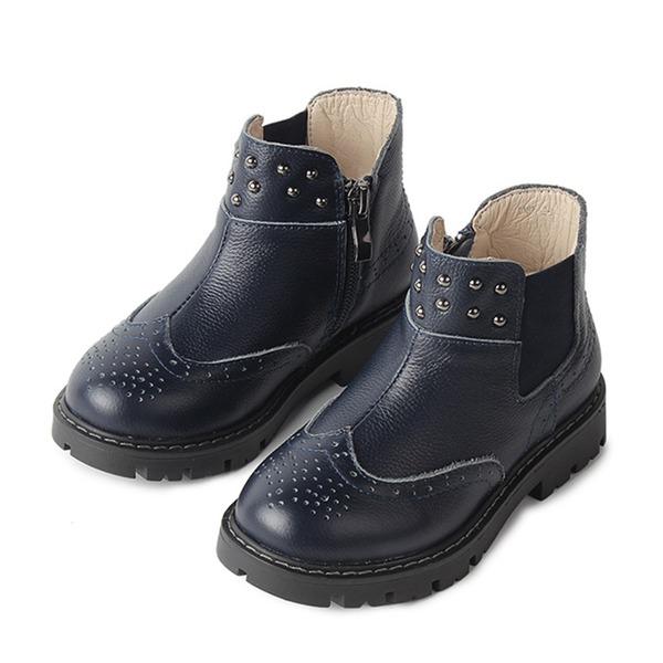 Mädchens Geschlossene Zehe Stiefelette Leder Mesh Flache Ferse Flache Schuhe Stiefel mit Reißverschluss
