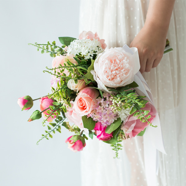 Pretty Round Artificial Flower Bridal Bouquets (Sold in a single piece) -