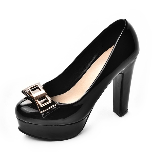 Women's Leatherette Stiletto Heel Pumps Platform Closed Toe With Bowknot shoes