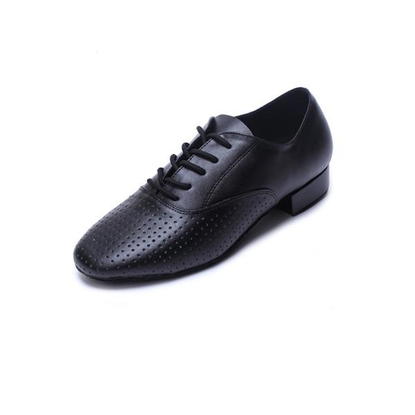 Mannen Echt leer Hakken Latijn Ballroom Oefening Character Shoes met Vastrijgen Dansschoenen