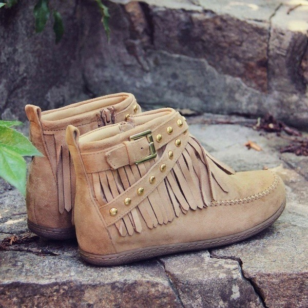 Женщины Замша Плоский каблук На плокой подошве Ботинки с пряжка кисточкой обувь
