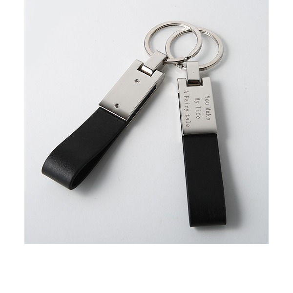 Personalized Simple Zinc Alloy/Leatherette Keychains (Set of 4)