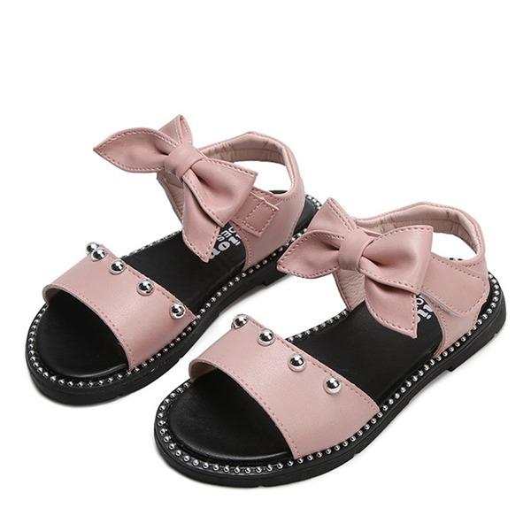 Girl's Peep Toe imitatieleer Flat Heel Sandalen Flats Bloemenmeisje schoenen met strik Velcro Klinknagel