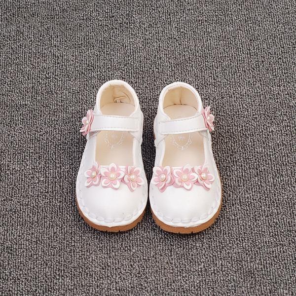 Muchacha Punta Cerrada Cuero de Microfibra Talón plano Planos Zapatos de niña de las flores con Perlas de imitación Velcro Flor
