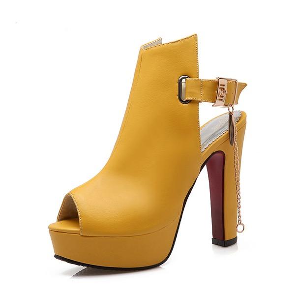 Mulheres Couro Salto robusto Bombas Plataforma com Fivela sapatos