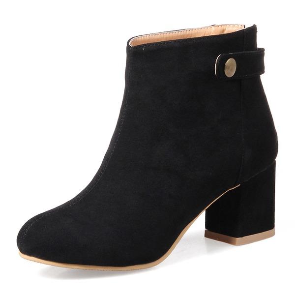 Kvinner Semsket Stor Hæl Pumps Støvler Ankelstøvler med Rivet sko