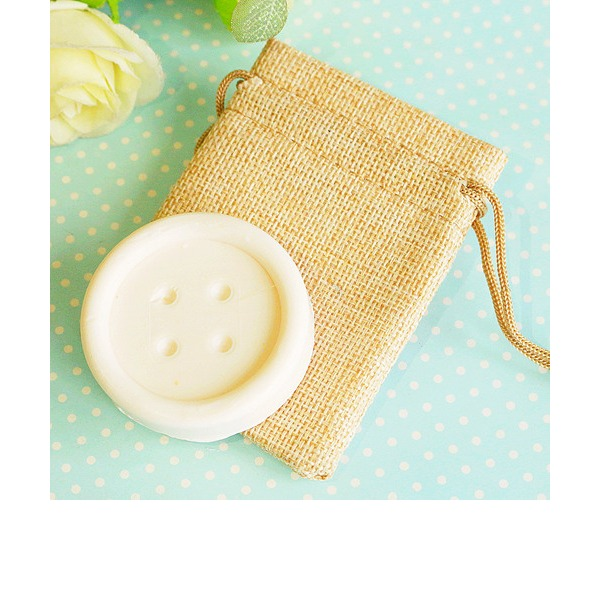 """""""Cute as a Button"""" Scented Button Soap in Burlap Bag"""