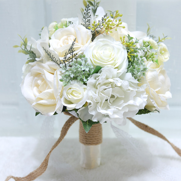 Simple And Elegant Round Artificial Flower Bridal Bouquets (Sold in a single piece) -
