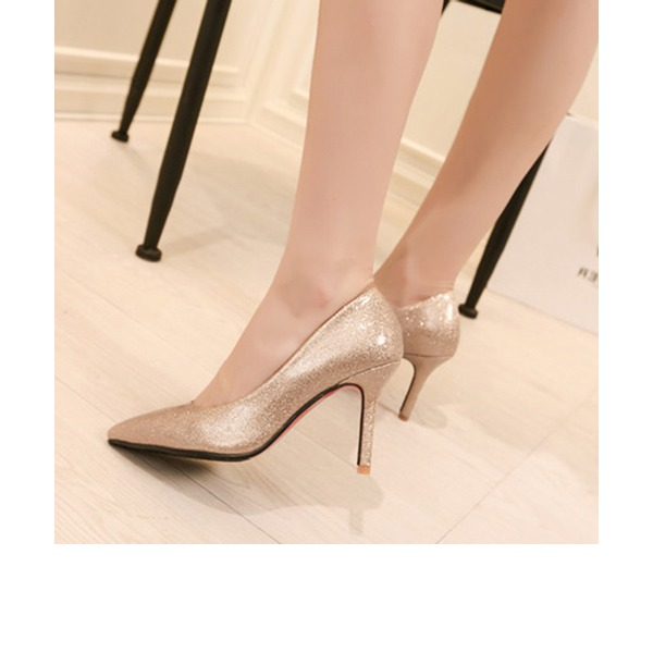 Women's Patent Leather Stiletto Heel Pumps Closed Toe With Sparkling Glitter shoes