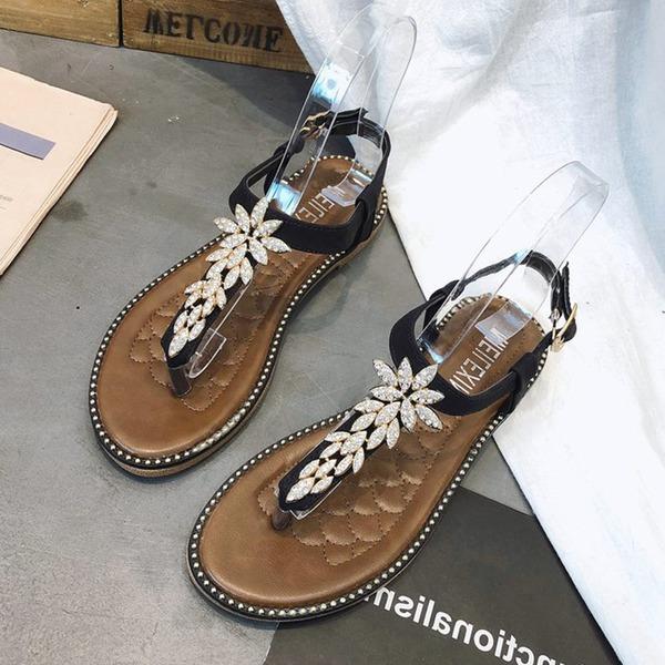 Frauen Kunstleder Flascher Absatz Sandalen Flache Schuhe Peep Toe Flip Flops mit Strass Schuhe