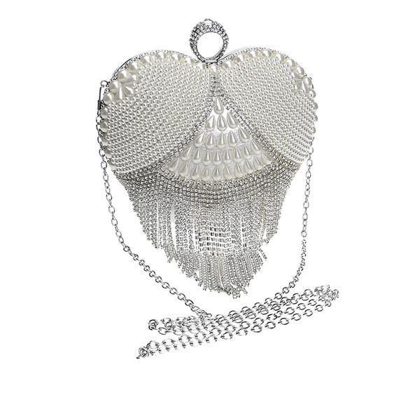 Elegant Kristall/Strass/Oäkta Pearl Grepp