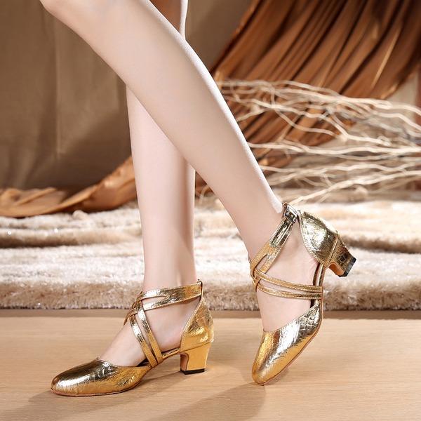 Femmes Similicuir Talons Salle de bal avec Lanière de cheville Chaussures de danse