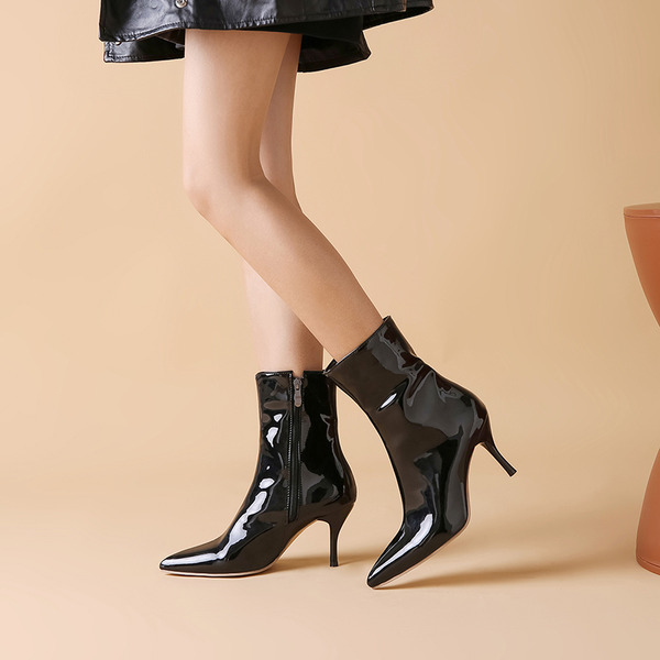 Women's Patent Leather Stiletto Heel Pumps Boots Mid-Calf Boots With Zipper shoes