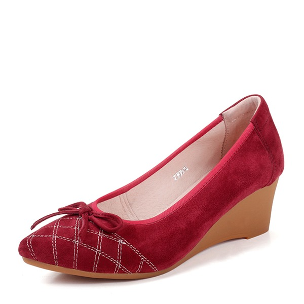 Women's Suede Wedge Heel Closed Toe Wedges With Bowknot shoes