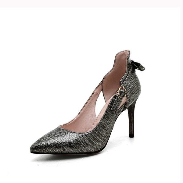 Femmes Similicuir Talon stiletto Escarpins avec Boucle Ouvertes chaussures