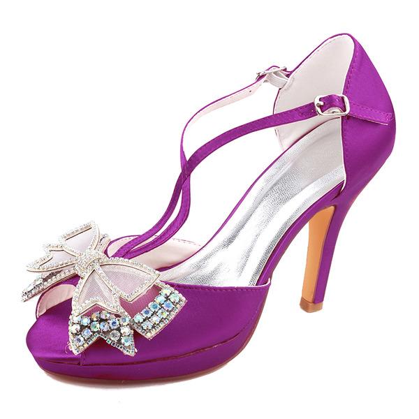 Women's Silk Like Satin Stiletto Heel Peep Toe Platform Pumps With Bowknot Crystal