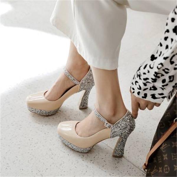 Naisten Kuohuviini glitteri Chunky heel Avokkaat Platform jossa Paljetti Split yhteinen kengät