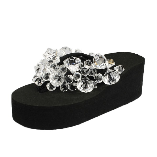 Naisten Kankaalla Wedge heel Sandaalit Varvastossut jossa Tekojalokivi kengät
