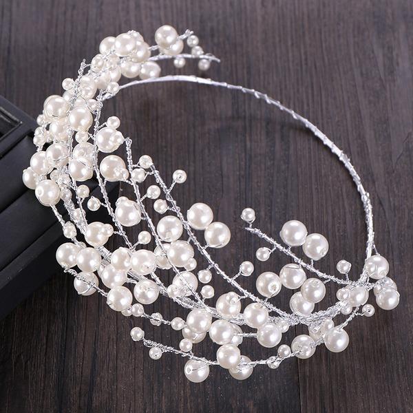 Señoras Exquisito Aleación/La perla de faux Tiaras con Perla Veneciano (Se venden en una sola pieza)