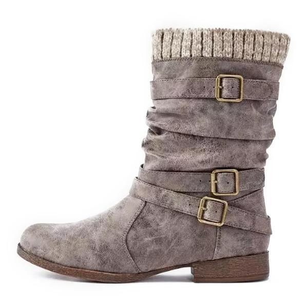 Kvinder Kunstlæder Stor Hæl Fladsko Støvler Ankelstøvler med Spænde sko