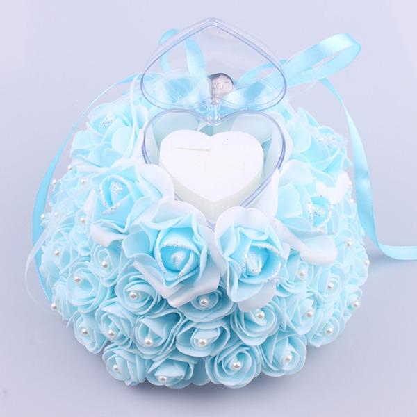 Rose/Rund Ring Kissen in Stoff mit Bänder/Faux-Perlen
