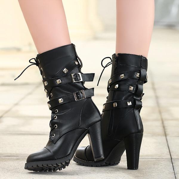 Mulheres PU Salto robusto Botas Botas na panturrilha com Rivet Fivela Zíper Aplicação de renda sapatos