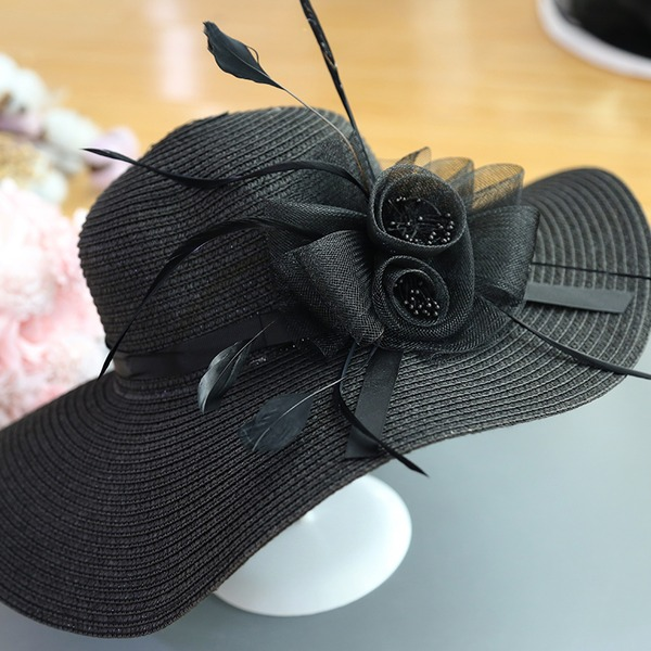 Ladies' Special/Glamourous/Elegant/Simple/Eye-catching/Fancy Raffia Straw With Feather Straw Hat