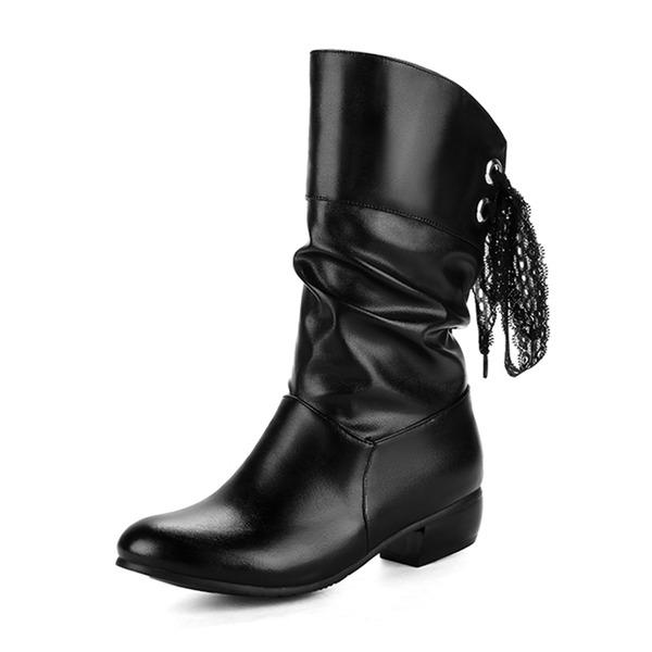 Femmes Similicuir Talon bottier Bout fermé Bottes Bottes mi-mollets avec Dentelle chaussures
