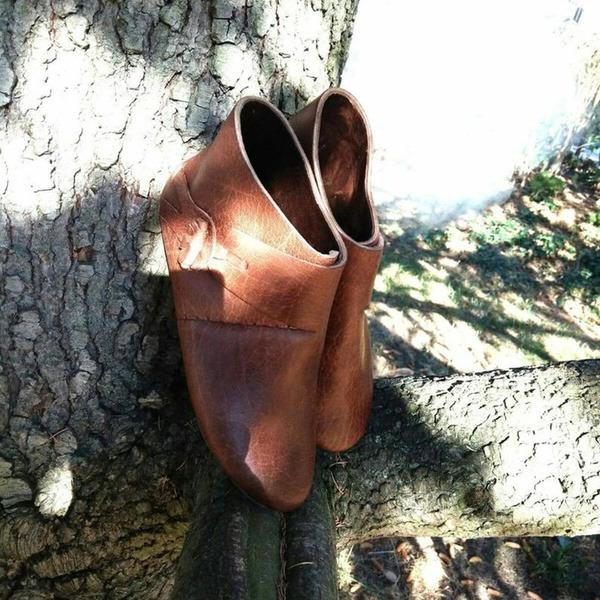 Женщины кожа Плоский каблук На плокой подошве Ботинки Полусапоги с пряжка обувь
