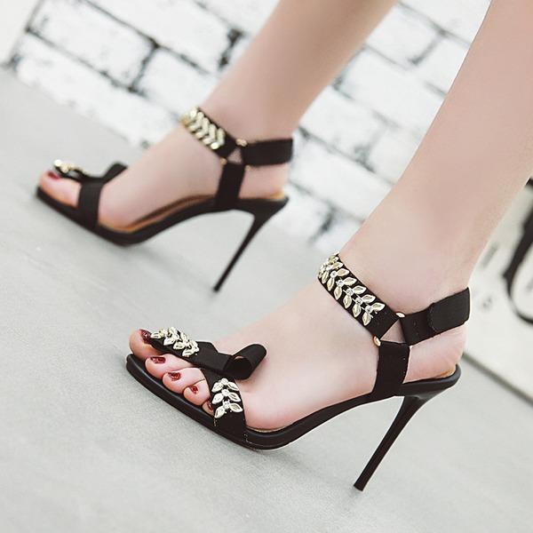 Женщины ткань Высокий тонкий каблук Сандалии На каблуках Открытый мыс Босоножки с пряжка обувь