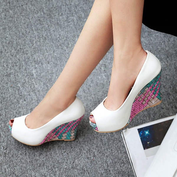 Women's Leatherette Wedge Heel Pumps Wedges With Jewelry Heel shoes