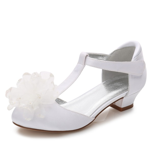 tytön Round Toe Suljettu toe Mary Jane Silk Like Satin Low Heel Flower Girl Kengät
