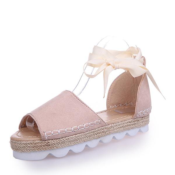 Naisten Mokkanahka Matalakorkoiset Heel Sandaalit Matalakorkoiset jossa Nauhakenkä kengät