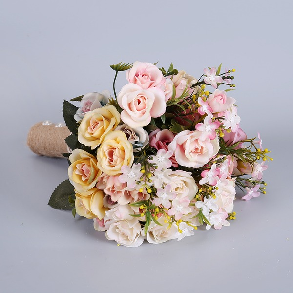 Simple And Elegant Free-Form Fabric Bridal Bouquets -