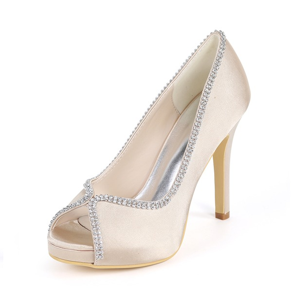 f88f474e48ee Women s Silk Like Satin Stiletto Heel Peep Toe Platform Pumps With  Rhinestone