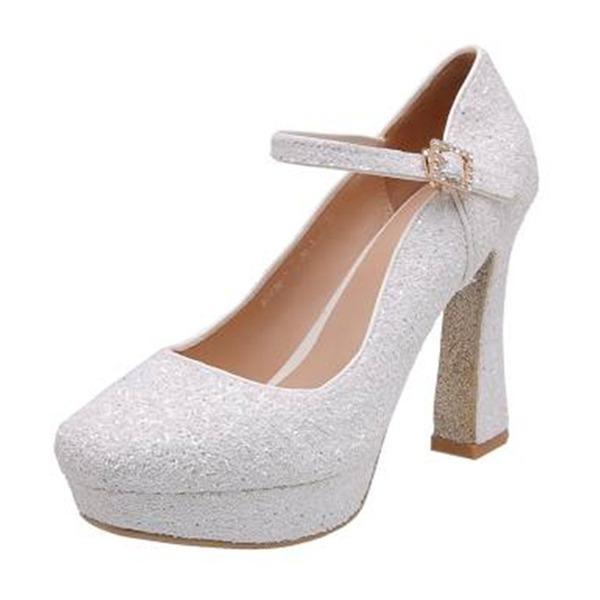 Kvinnor Glittrande Glitter Tjockt Häl Pumps med Paljetter Spänne skor