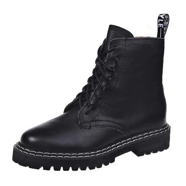 Kadın PU Alçak Topuk Martin Boots Ile Yivli Conta ayakkabı