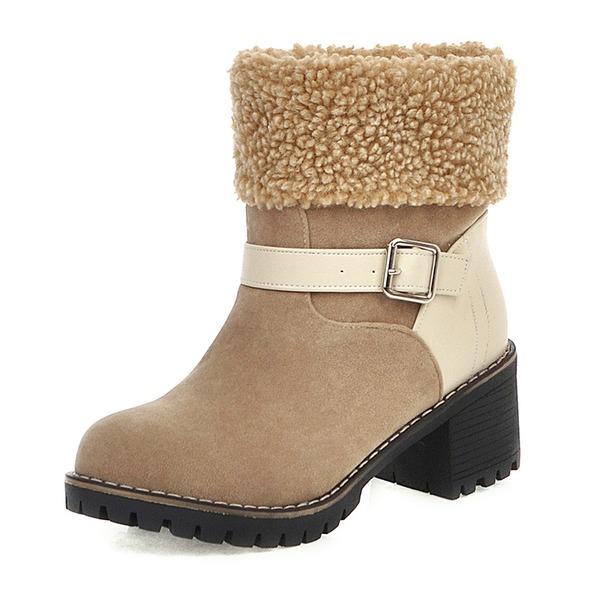 Vrouwen Kunstleer Chunky Heel Laarzen Enkel Laarzen Snowboots أحذية