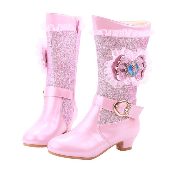 Girl's Closed Toe Microfiber Leather Low Heel Boots Flower Girl Shoes With Bowknot Buckle Crystal