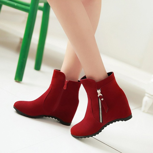 Mulheres Camurça Plataforma Calços Botas Bota no tornozelo com Zíper sapatos