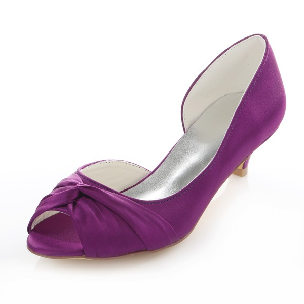 Women's Satin Kitten Heel Pumps