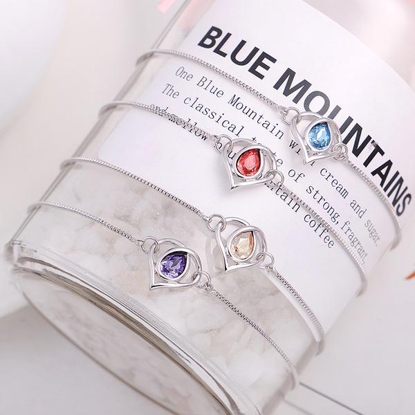 Hjerteformede Legering Crystal med Efterligning Crystal Mode Armbånd (Sælges i et enkelt stykke)