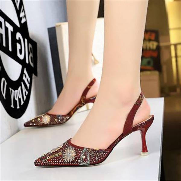 Женщины шелка как атласное Высокий тонкий каблук Сандалии На каблуках Закрытый мыс с горный хрусталь обувь