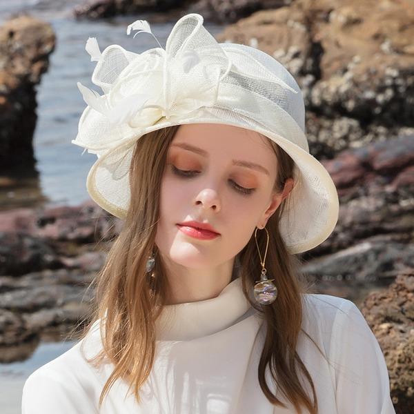 Ladies ' Glamourous/Klasický/Elegantní/Romantický Bílá látka podobná bavlně S Pírko Pláž / sluneční klobouky