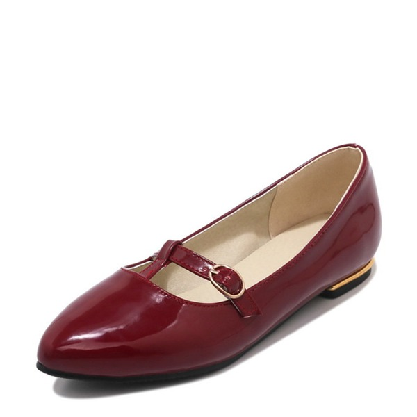Women's Patent Leather Flat Heel Flats Closed Toe With Lace-up shoes